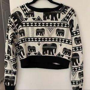 Element Tribal Elephant Print Crop Sweater